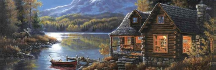 фото домик у озера