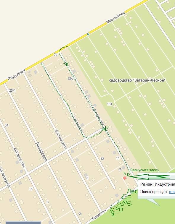 Карта проезда ЛПХ Лесное, Барнаул
